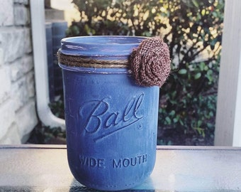 Jamestown Blue Shabby Chic Decorative Jar/ Rustic Burlap Rose/ Wide Mouth Pint Ball Jar/ Office Desk Storage/ Pencil Makeup Brush Holder