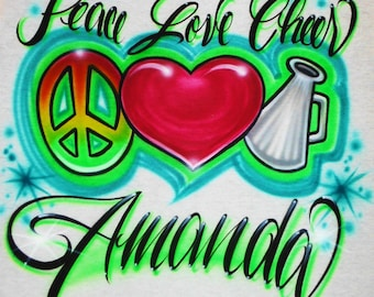 Airbrush T Shirt Peace Love Cheer With Name, Airbrush Cheer Shirt, Airbrush Cheerleader Shirt, Peace Love Shirt, Peace Sign Shirt, Airbrush