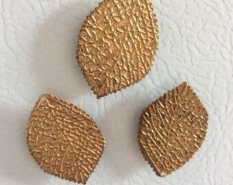 Set of 3 Gold Leaf Fridge Magnets in Tin