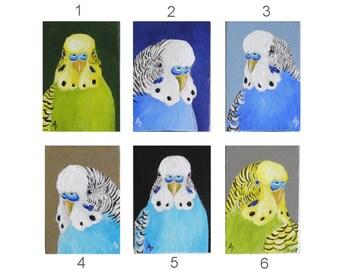 Green or Blue Budgie painting - pet parakeet miniature art - bird pet portrait ACEO mini painting canvas - blue parakeet painting