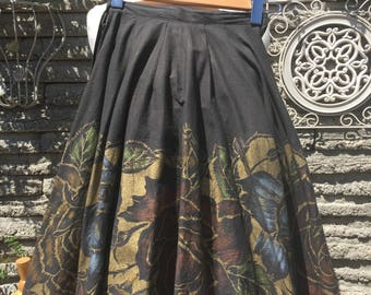 Vintage 1950's Floral Mexican Skirt * Size XS