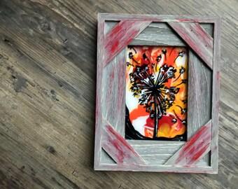 Heart shaped dandelion flower in wooden frame painting !