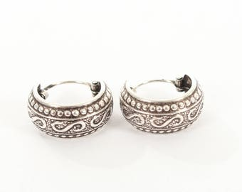 """Sterling Silver Small Oxidised Hooped Earrings with a """"S"""" Design"""