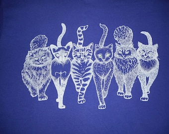 Vintage Two Sided Cats Cat Butts T Shirt Size L