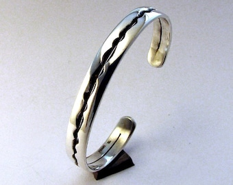 Sterling Silver Bracelet Cuff, River Runs