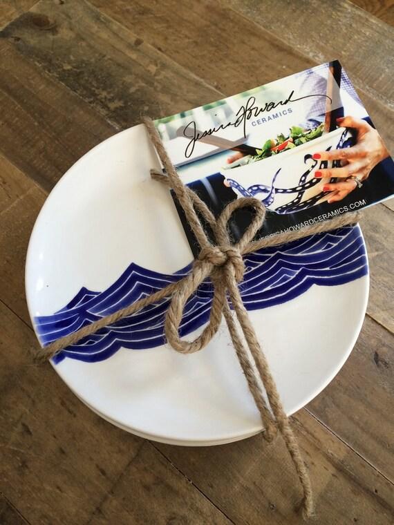 Like this item? & Dinnerware set of 4 ceramic dinner plates in blue ocean wave.