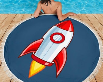 Rocket Ship/Rocket/Blanket/Blankets/Beach/Pool/Throw/Picnic/Towel/Round/Tablecloth/Gift