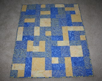 Batik Yellow and Blue Yellowbrick Road Quilt