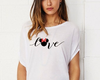 Love Minnie Lady's Tunic Loose Fit T-shirt Cotton Touch Shirt Woman Shirt