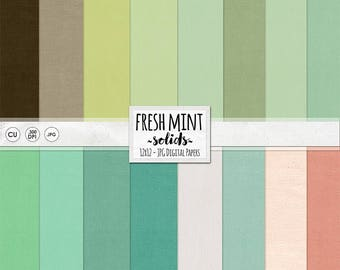 Mint Digital Papers, Green Solid Cardstock Backgrounds, Fresh Summer Peach, Teal, Aqua & Lime, Lightly Textured Background, Instant Download