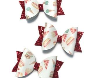 Junk Foodie Glitter Bow- headband, glitter bow, pizza bow,  french fry bow , red glitter headband, glitter headband, red glitter bow