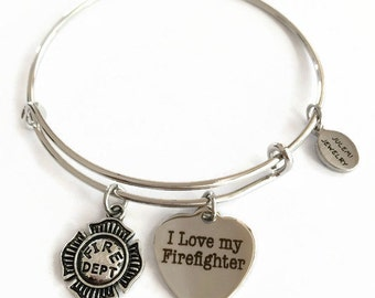 I Love My Firefighter Expandable Bracelet Fireman Stacking Bracelet Fireman Charm Bangle Bracelet Fireman Adjustable Stainless Bracelet