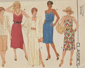 Butterick 6442 Sewing Pattern Vintage 1980s Loose-Fitting Hip Jacket Slip Dress with Elastic Waist 80s Fashion UNCUT Factory Folds Size 6-10