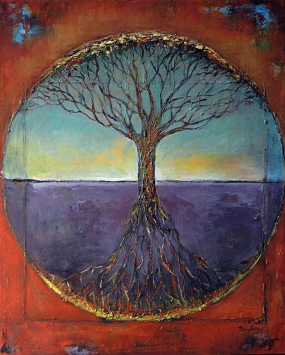 Abstract Tree Painting Tree of Life - 30x24 - Original Artwork by BenWill