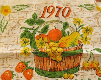 1970 Vintage Fruit Tea Towel