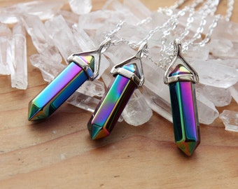 Rainbow Aura Quartz Silver / Gold Pendulum Crystal Necklace - Polished Crystals Gemstones Gem Minerals Healing Chakra Point Points Plated