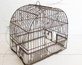 Antique Wire Bird Cage, Vintage Bird House, Decorative Bird Cage, Rusty Wire Bird Cage, Wire Cloche