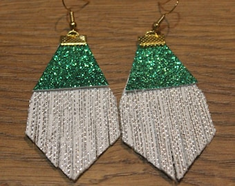 Holiday Titan Leather Earrings - Textured Silver and Green Glitter