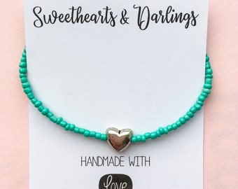 Turquoise seed bead bracelet with silver heart, silver heart bead bracelet, turquoise beaded bracelet with silver heart charm, turquoise