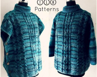 Crochet poncho pullover sweater pattern, oversized poncho sweater pattern with and without sleeves, 2 in 1 poncho pullover, pattern no.