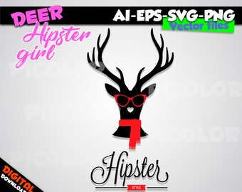 black Deer Hipster Silhouette SVG EPS PNG Instant Download Format for Cricut and Silhouette Cut File Stencil Decal Vinyl Tshirt Template