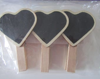 set of 3 clothespins heart shaped slate markers places