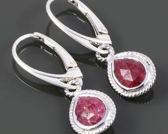 Genuine Ruby Earrings. Sterling Silver. Lever Back Ear Wires. Genuine Gemstone. Red Ruby. July Birthstone. s18e001