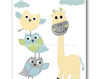 Kids wall art Giraffe Nursery Baby Nursery Art Decor Baby Boy Nursery Kids Art Baby Room Decor Nursery Print Boy Print owl blue grey
