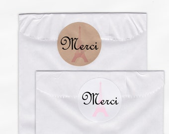 Merci Wedding Favor Stickers - Eiffel Tower Candy Buffet French White, Kraft Round Labels for Bag Seals, Envelopes, Mason Jars (2009)
