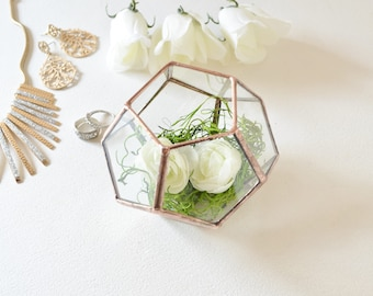 Wedding Decor, Wedding Gift, Wedding Ring Box, Gift For Girlfriend, Dodecahedron, Modern Terrarium, Indoor Gardening.