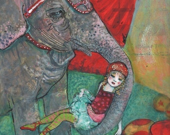 ACEO art reproduction - Circus Girl And Harriet The Elephant