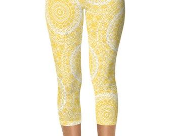 Leggings for Women, Mustard Yellow Capris, Yoga Pants Yellow and White Mandala Pattern Capri Leggings