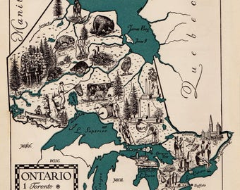 Pictorial Vintage ONTARIO Canada Picture Map of Ontario Canada Print 1940s Pictorial Map Travel Map Gallery Wall Art Home Decor