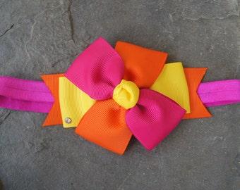 Yellow Fuschia orange pinwheel
