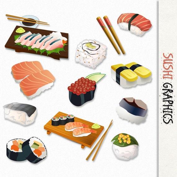 sushi graphics japanese food clip art clipart scrapbook rh etsy com Cute Scrapbooking Clip Art Photo Album Clip Art