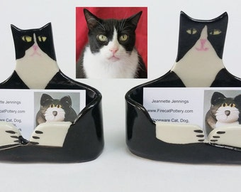 Cat card holder etsy custom ceramic handmade by artist cat lover business card holder ceramic unique whimsical made to reheart Images