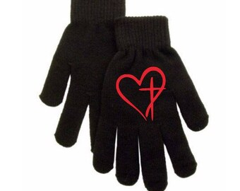 Cross Heart Religious Faith Touch Screen Compatible Texting Stretch Knit Gloves Winter Clothes Jenuine Crafts