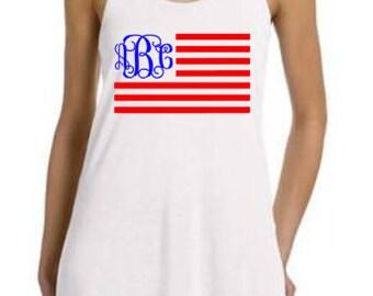 Flag Monogram, July 4th Tank, 4th of July Tank, Merica, Merica Tank, July 4th outfit, Fourth of July, July 4th Monogram, 4th of July