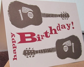 Birthday Guitars - Letterpress Printed Birthday Card