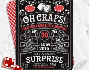 Casino Birthday Party Invitations , craps, blackjack, roulette, hold'em, vegas, party, digital file, printable