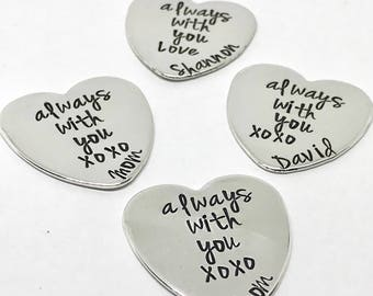 Pocket Tokens Personalized Message - Unique Gifts - Custom Heart Tokens - Personalized - Servicemen Gifts - Tokens of Love - Pocket Coin