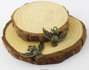 5pcs 24x30mm Antique Bronze Cute Owl Pendants---bird