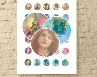 "Vintage Jeweled Ephemera * Printable 1"" Circle Bottle Cap Images Collage Sheet for Crafts * Instant Download"
