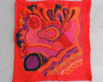 Free-form crochet wall hanging: fire