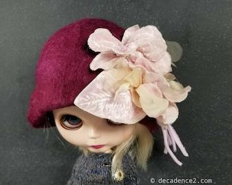 Dark Pink Felted Wool Cloche Hat for Blythe Dolls- Velvet Flowers, millinery Leaves