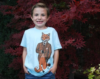 Childrens Fox Shirt - Kids Tee - Stylish Fox T-shirt - Children's Gift - Dapper Fox Shirt - Kids' Gift - Animal Tshirt