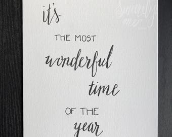 "ORIGINAL It's the Most Wonderful Time of the Year 8""x10"" Canvas - Handwritten Quote - Wall Art - Home Décor - Seasonal Decor - Christmas"