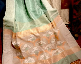 Pure Linen Silk Saree with Jamdani work and Zari  Green