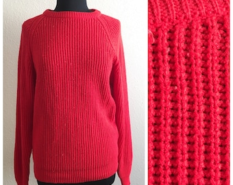 80s  SLOUCHY RED SWEATER / vintage yarnworks oversized small medium large xlarge extra fall autumn winter boyfriend loose fit bright knit