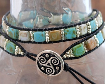 Handmade Double Wrap Tile Leather Bracelet